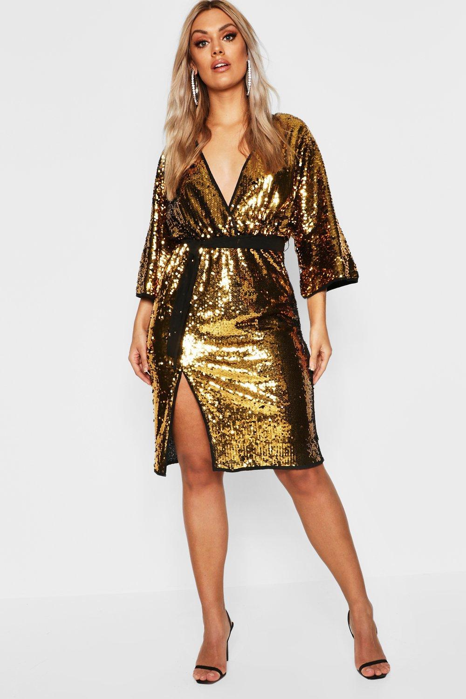 Plus Sequin Kimono Sleeve Midi Dress | Boohoo