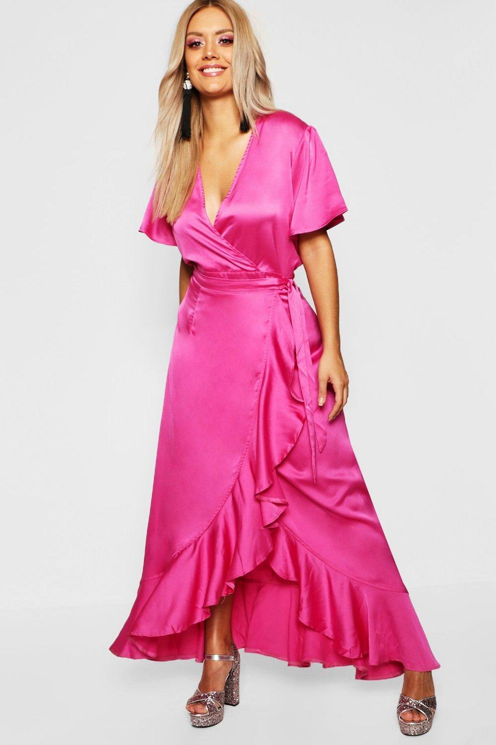 217b32469c4 Gemma Collins Satin Ruffle Wrap Maxi Dress