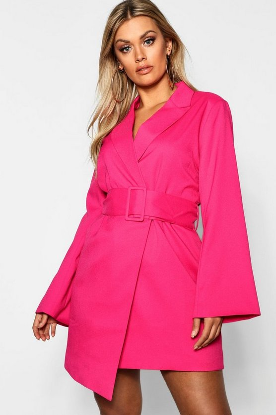 Plus Belted Asymmetric Blazer Dress