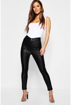 Womens Black Petite Coated High Rise Skinny Jeans
