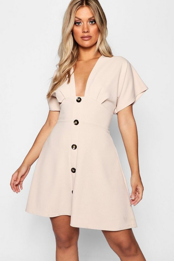 Plus Horn Button Plunge Front Skater Dress