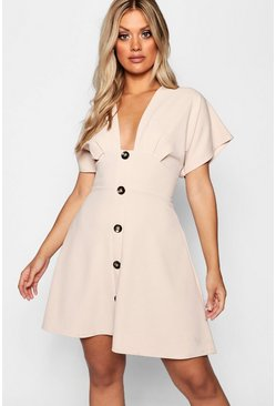 Womens Stone Plus Horn Button Plunge Front Skater Dress