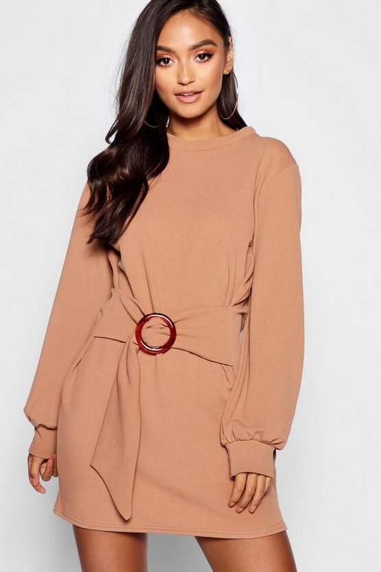 Petite Buckle Detail Belted Shift Dress