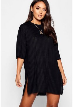Womens Black Petite Rib Knitted Slouchy T-Shirt Dress