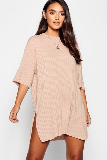Womens Camel Petite Rib Knitted Slouchy T-Shirt Dress