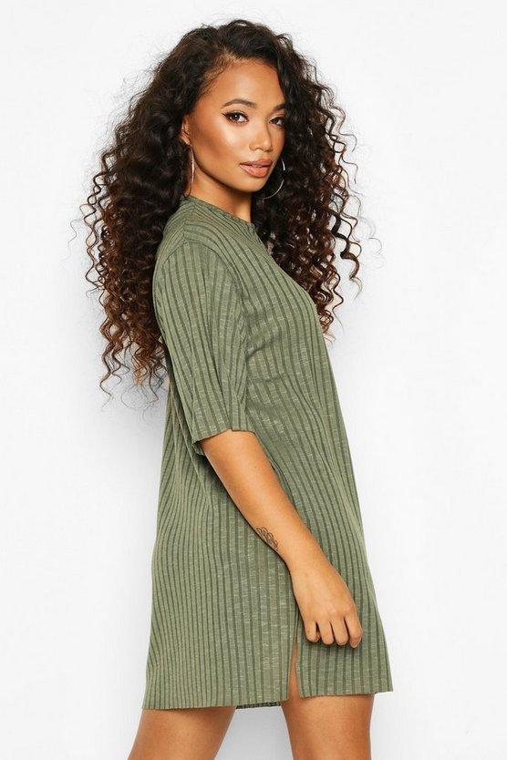 Petite Rib Knitted Slouchy T-Shirt Dress