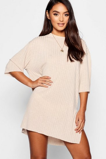 Sand Petite Rib Knitted Slouchy T-Shirt Dress