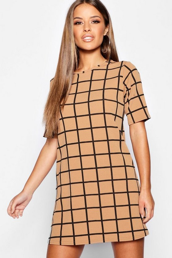 Petite Grid Check Shift Dress