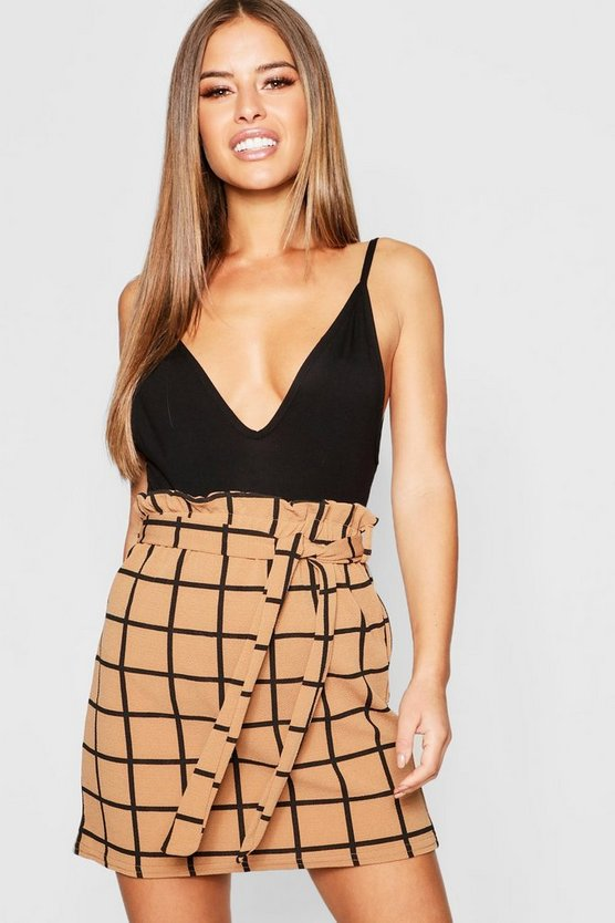 Petite Grid Check Tie Belted Skirt