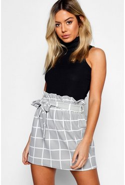 Womens Grey Petite Grid Check Tie Belted Skirt