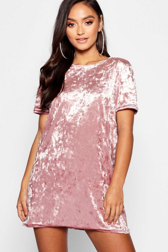 Petite Crushed Velvet T-Shirt Dress