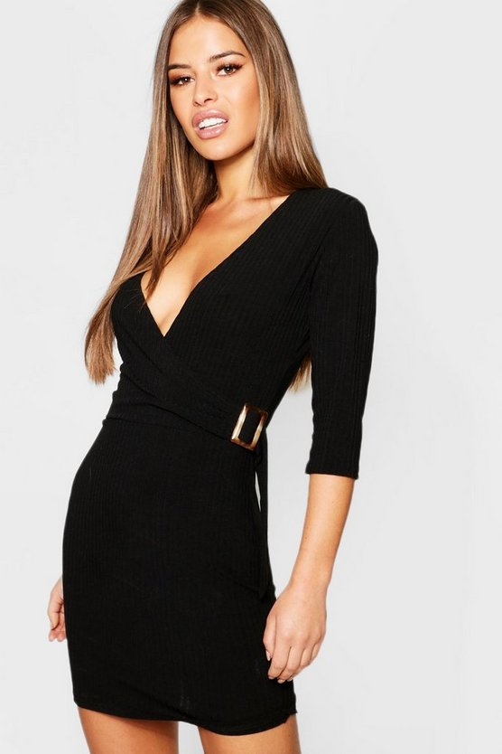 Petite Ribbed Buckle Dress