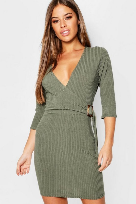 Womens Khaki Petite Ribbed Buckle Dress