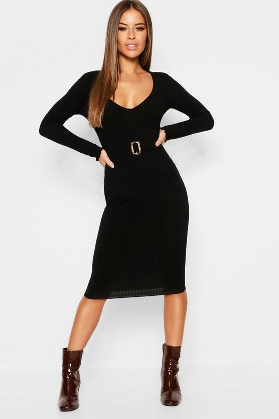Petite Ribbed Midi Dress