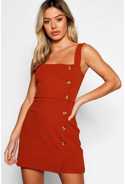Womens Rust Petite Mock Horn Button Square Neck Shift Dress