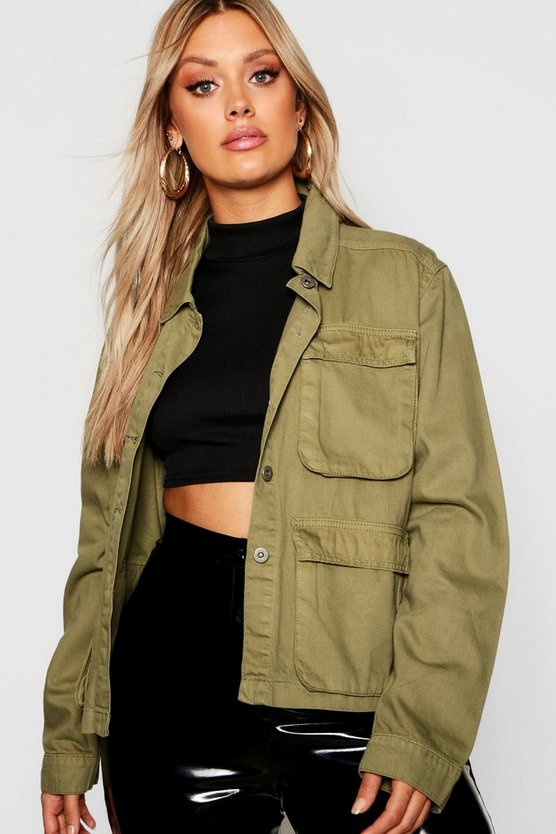 Womens Khaki Plus Double Pocket Utility Denim Jacket