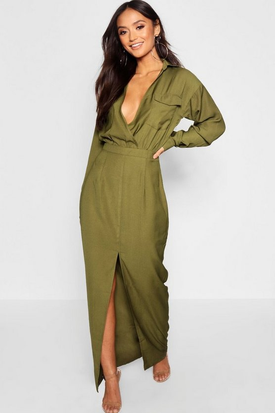 Petite Utility Pocket Front Maxi Dress