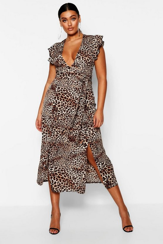 Womens Brown Plus Animal Ruffle Midi Dress