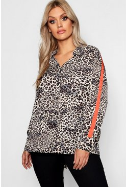 Plus camicia oversize intessuta a righe laterali con motivo animalier, Marrone, Femmina