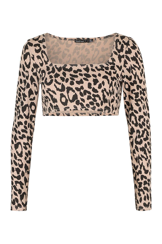 Neck Square Print Leopard brown Petite Crop Top fZq0w