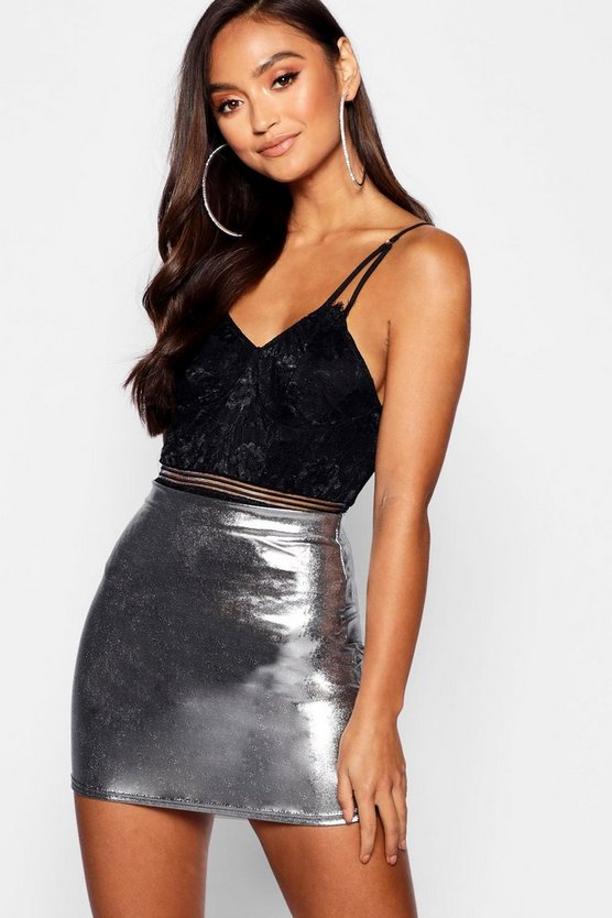 Womens Silver Petite Metallic Mini Skirt