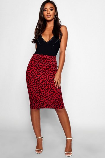 Womens Red Petite Leopard Print Midi Skirt