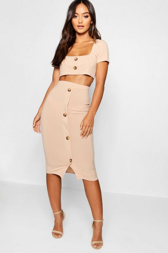 Petite Mock Horn Rib Top & Midi Skirt Co-Cord