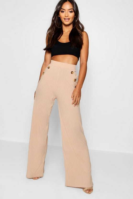 Petite Mock Horn Button Rib Wide Leg Trousers