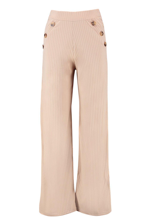 Leg Button Horn Trousers sand Mock Wide Rib Petite nqEWXPgz