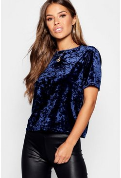Petite Boxy Crushed Velvet T-Shirt, Navy, Donna