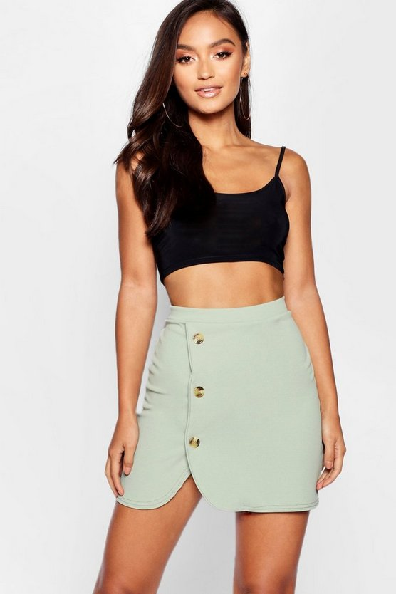 Petite Mock Horn Button Curved Hem Wrap Mini Skirt
