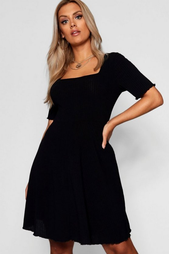 Womens Black Plus Square Neck Ribbed Skater Dress