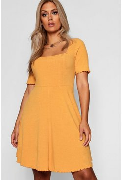 Womens Mustard Plus Square Neck Ribbed Skater Dress