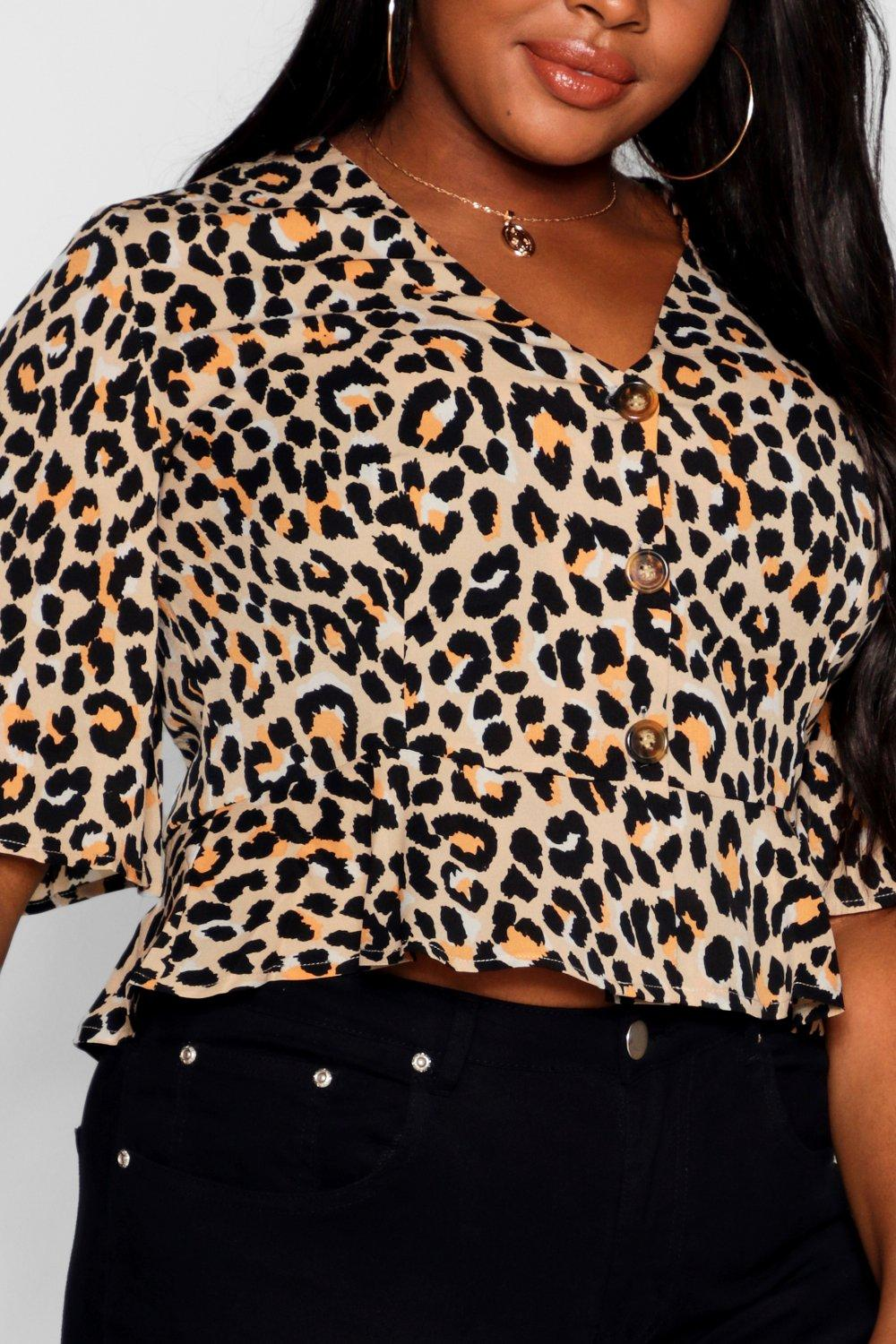 Print Plus tan Horn Tie Bold Animal Top Button EEqr4p0