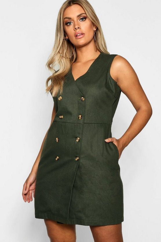 Womens Plus Horn Button Pinafore Dress