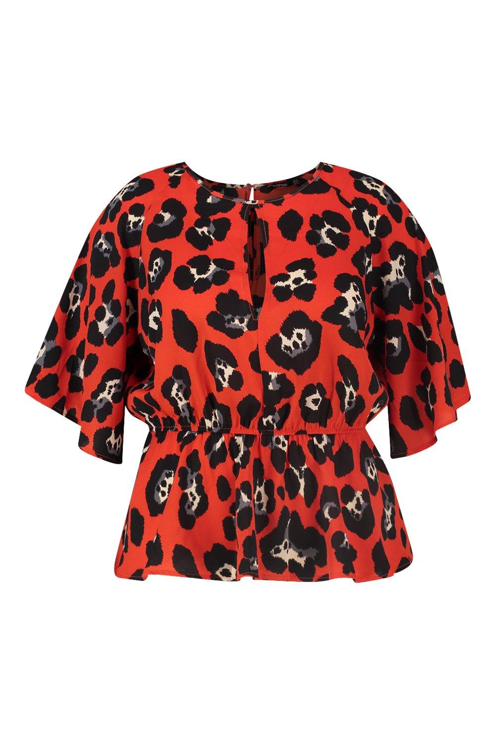 Sleeve Plus Blouse red Animal Bright Angel FFSqAZw