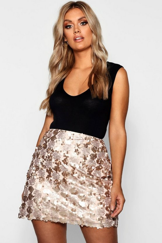 Womens Rose Plus Large Sequin Mini Skirt
