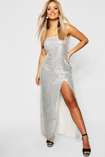 Silver Gemma Collins Bandeau Sequin Maxi Dress