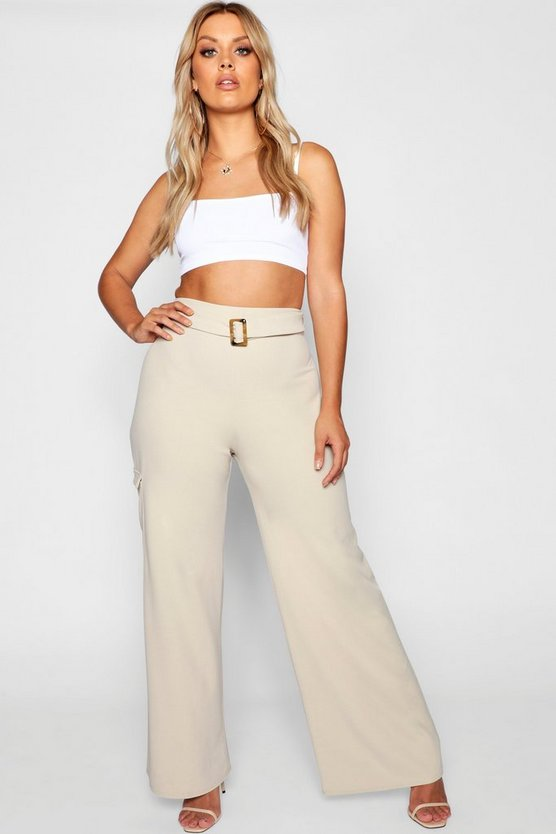 Plus Tortoise Shell Belt Wide Leg Trouser