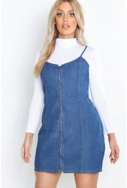 Womens Mid blue Plus Zip Denim Pinafore Dress