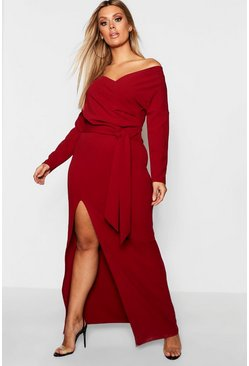 Berry Plus Off The Shoulder Wrap Dress