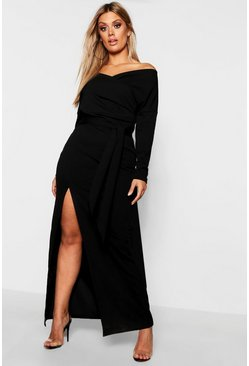 Black Plus Off The Shoulder Wrap Dress
