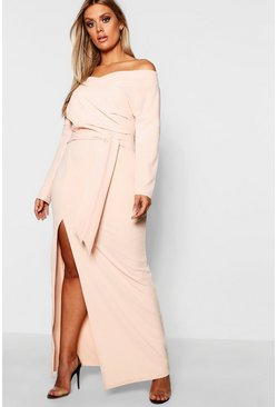 Womens Nude Plus Off The Shoulder Wrap Dress