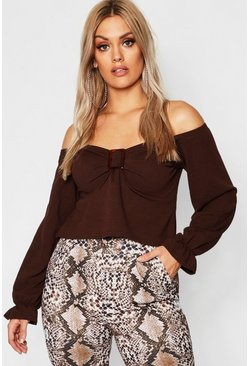 Womens Chocolate Plus Buckle Sweetheart Neck Top