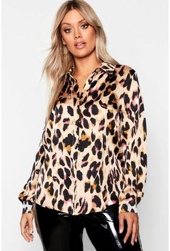 Womens Brown Plus Leopard Print Shirt