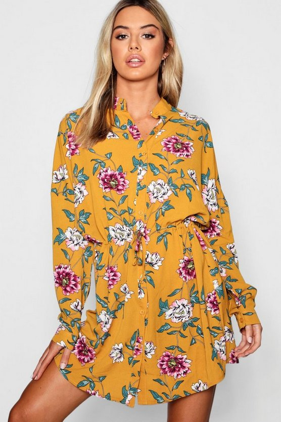 Petite Floral Tie Waist Shirt Dress