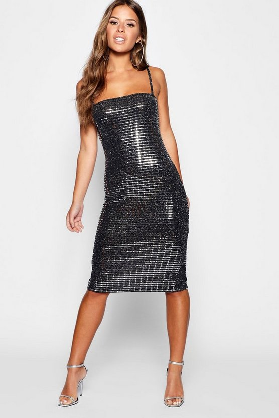 Petite Sparkle Sequin Square Neck Midi Dress