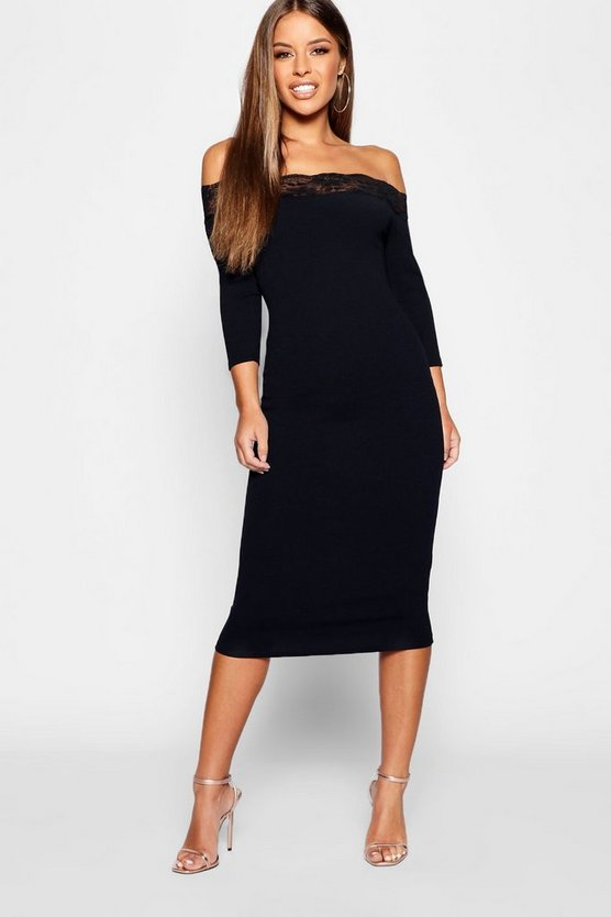 Petite Edge Bardot Midi Dress