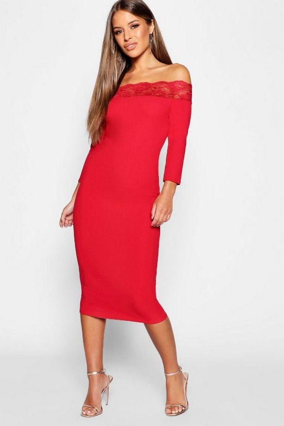 Womens Red Petite Edge Bardot Midi Dress