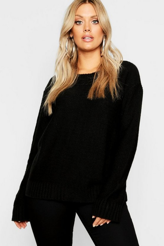 Womens Black Plus Oversized Rib Cuff Soft Knit Jumper